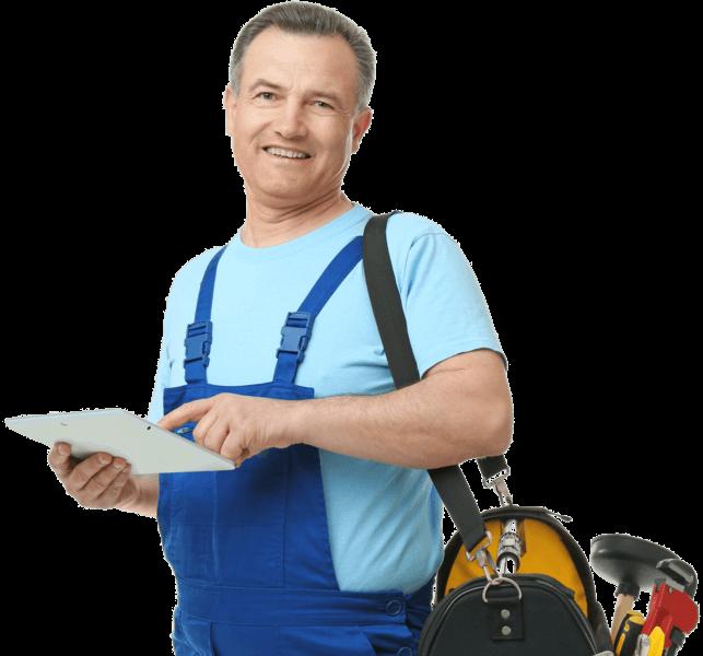 Hausmeister mit WAIOX Hausmeister-Software auf dem Tablet